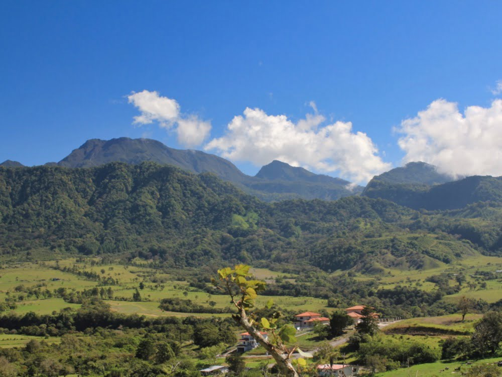 Mountains and farmland surrounding Volcan