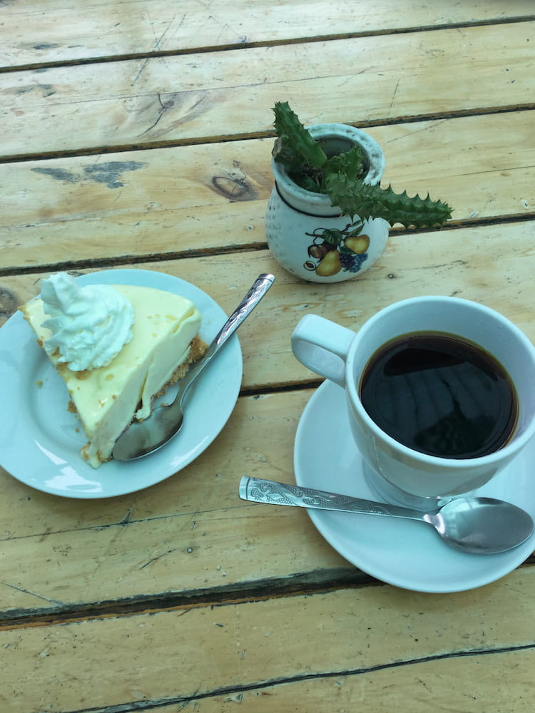 Geisha coffee and lemon pie