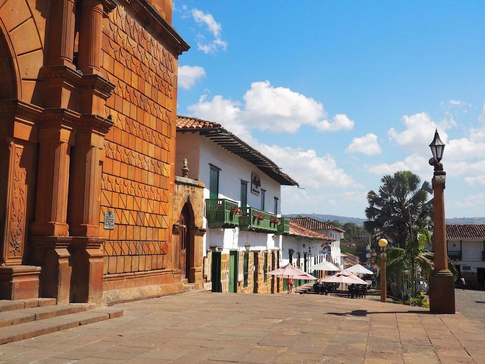 The main plaza in Barichara
