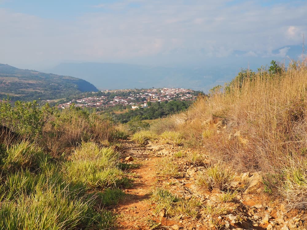 View of Barichara from the footpath down from Casa Mahaneim