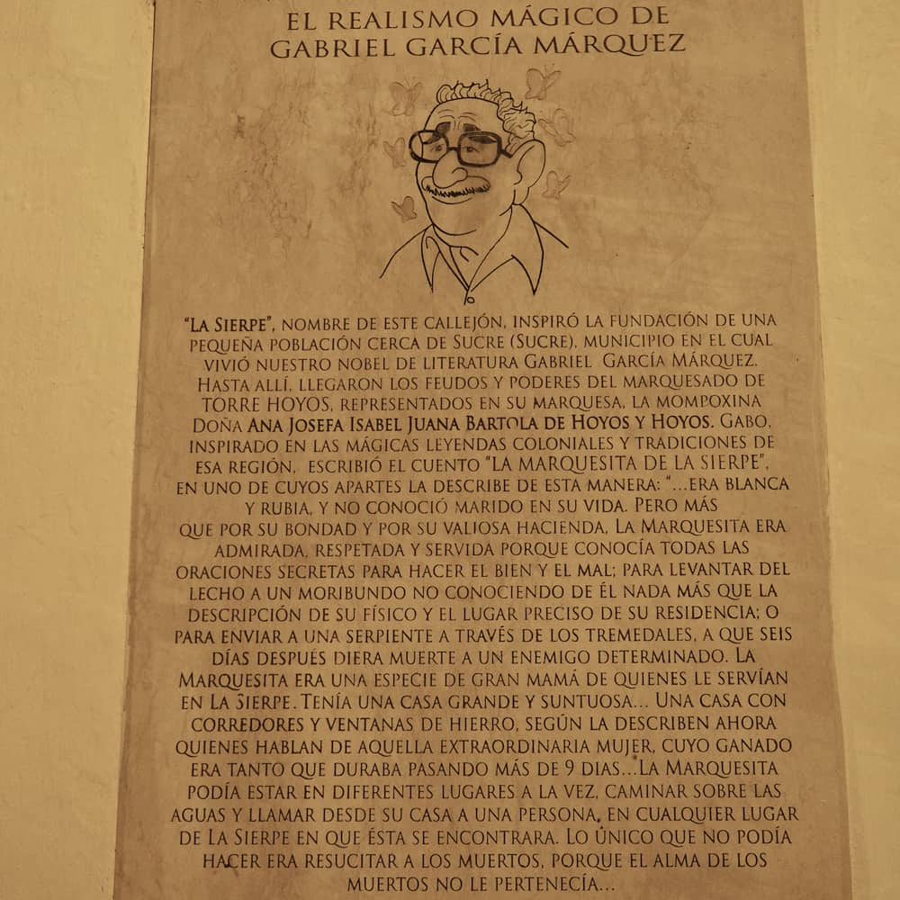 Wall plaque dedicated to Gabriel Garcia Marquez