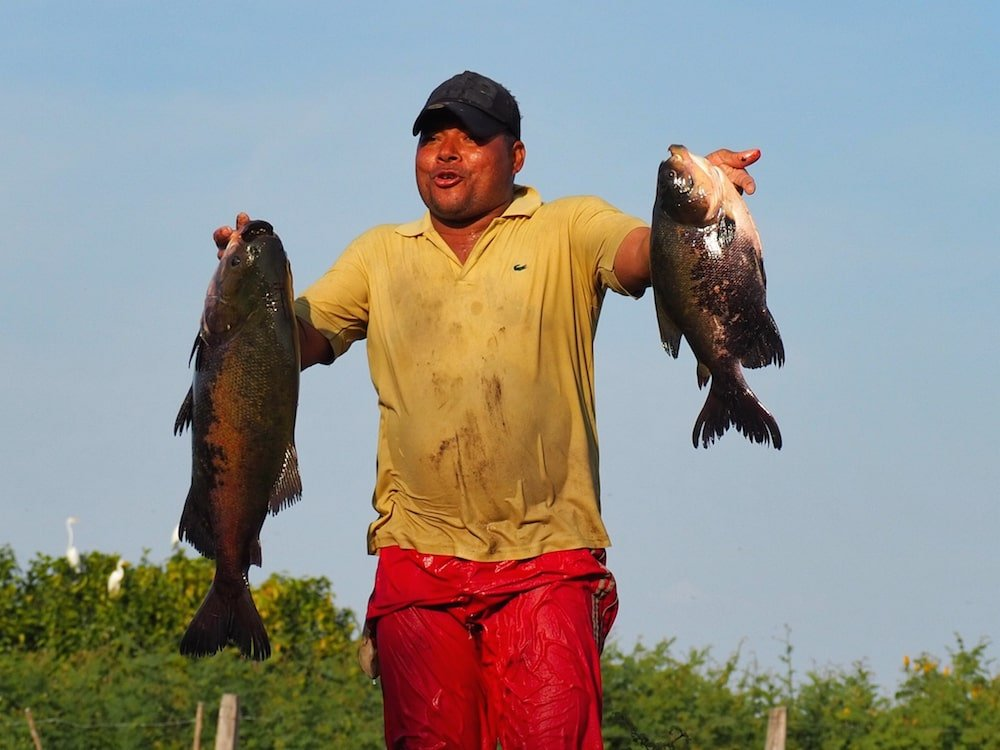 A fisherman shows of his catch of two fish