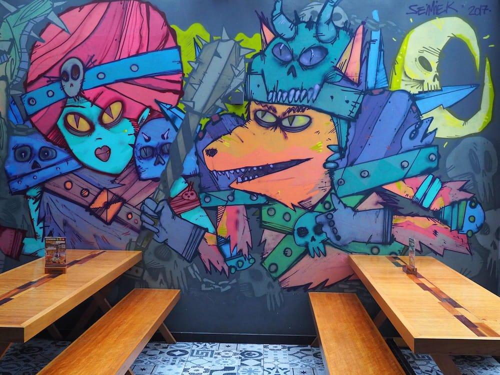 Seating area with a mural decoration
