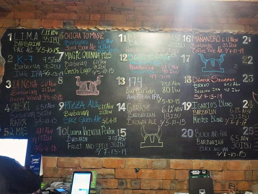 Blackboard beer menu at Barbarian