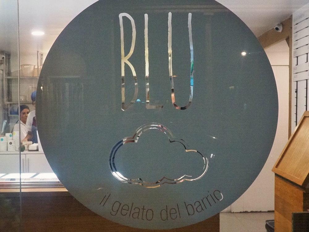 Blu logo on the gelateria door