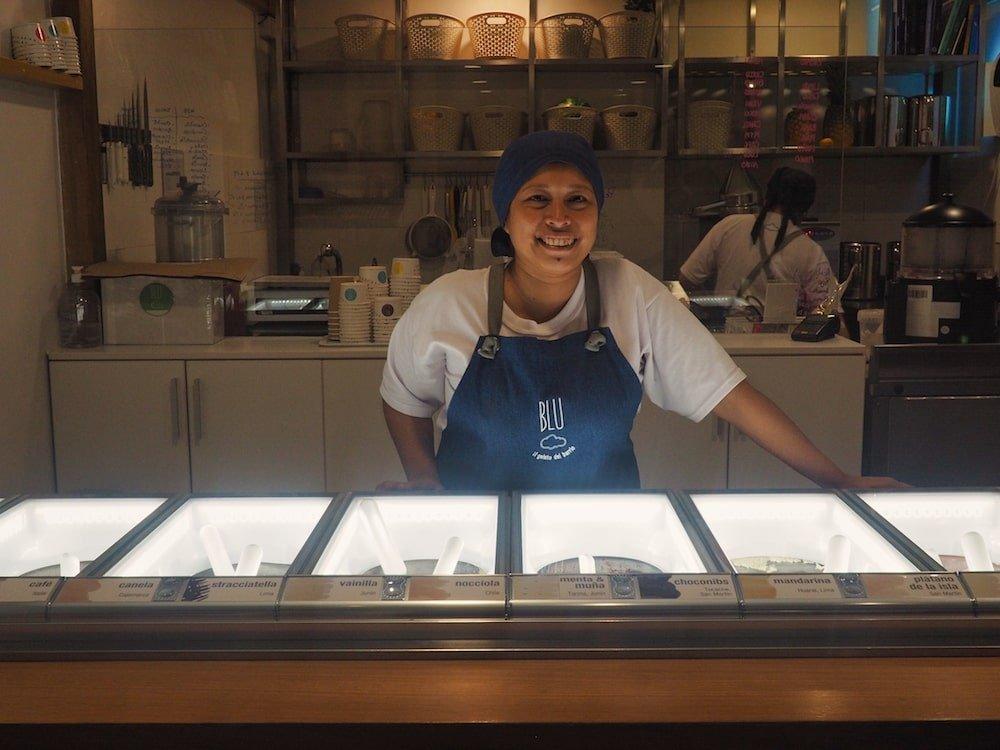The ice cream parlour inside Blu