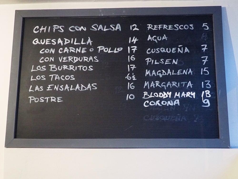 The Burrito Bar menu