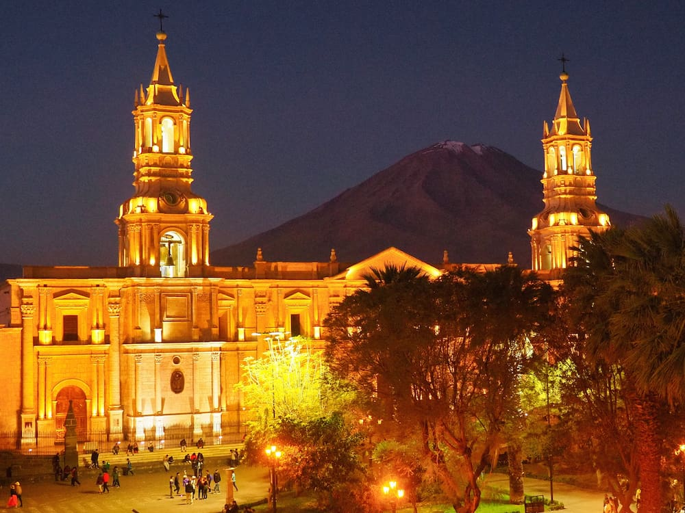 Arequipa's cathedral lit up at night