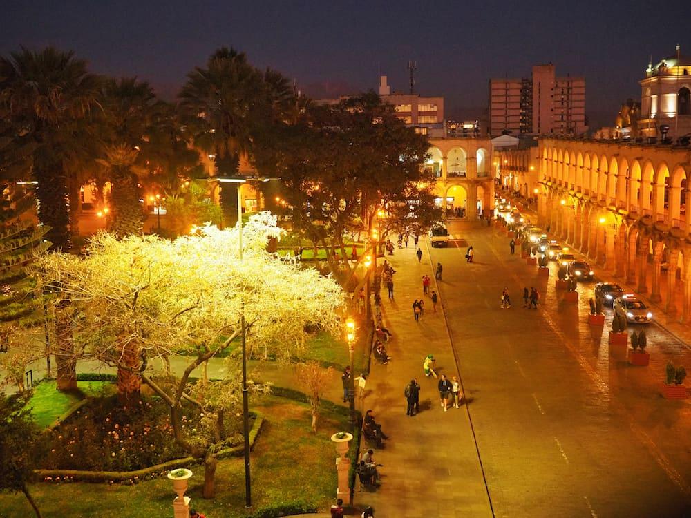 Arequipa's main plaza lit up at night