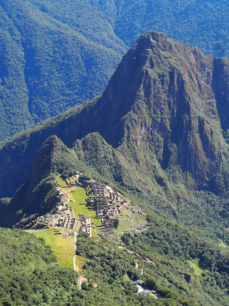 View of the citadel looking down from the summit of Machu Picchu Mountain