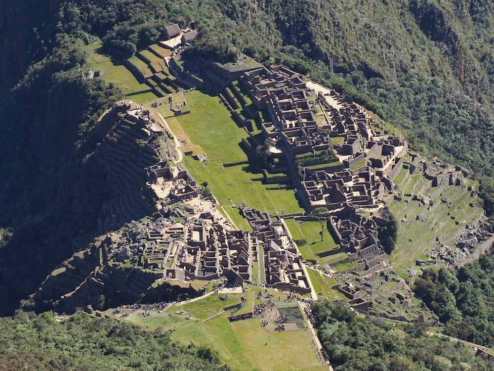 Map showing hiking trail down from Machu Picchu