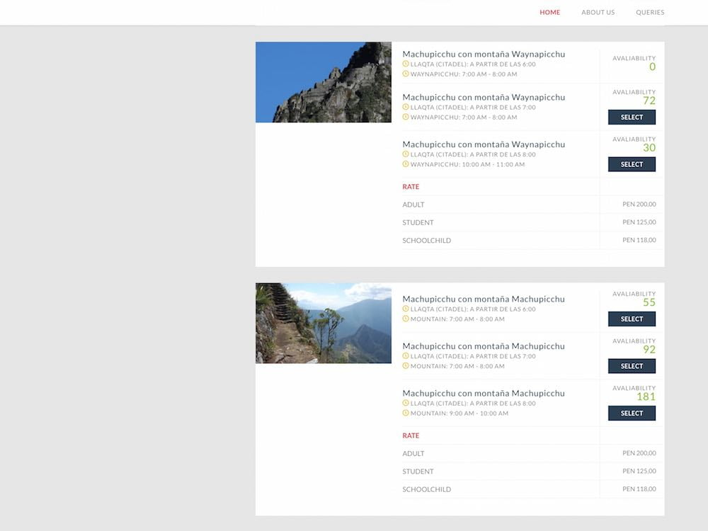 The official Machu Picchu booking website