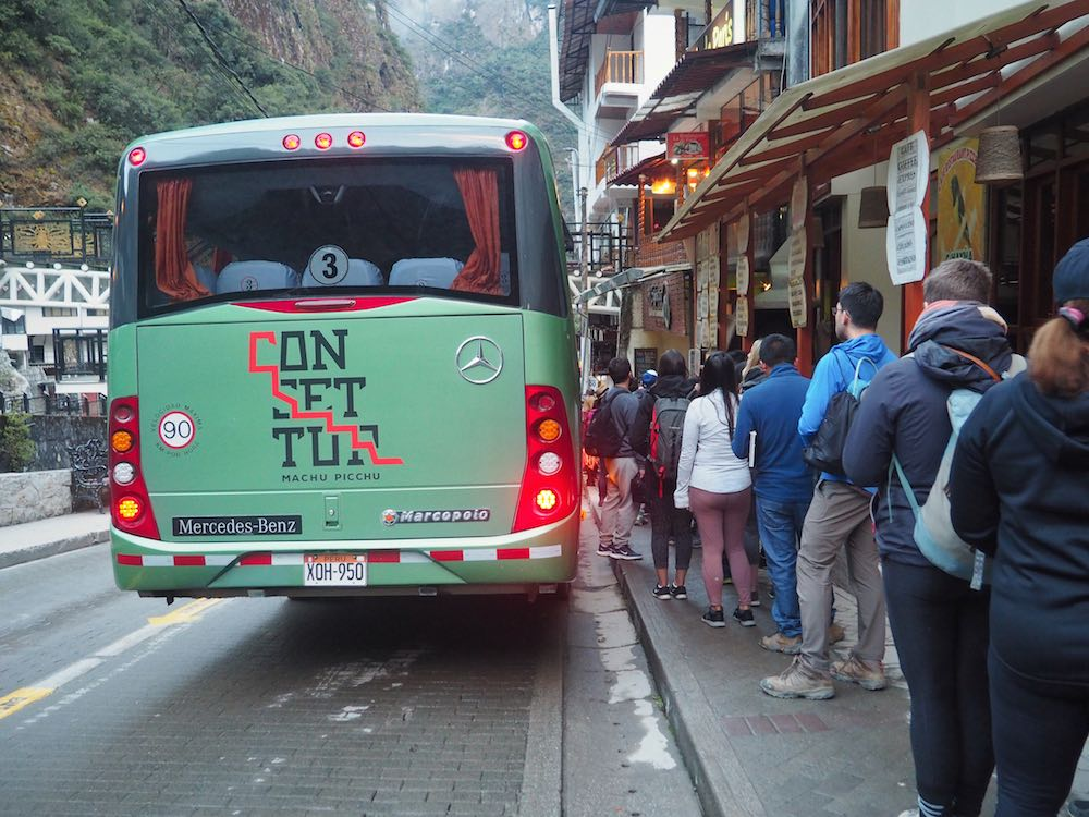 Queue for the bus up to the Machu Picchu citadel
