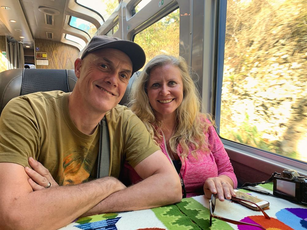 On board the Peru Rail train from Ollantaytambo to Aguas Calientes