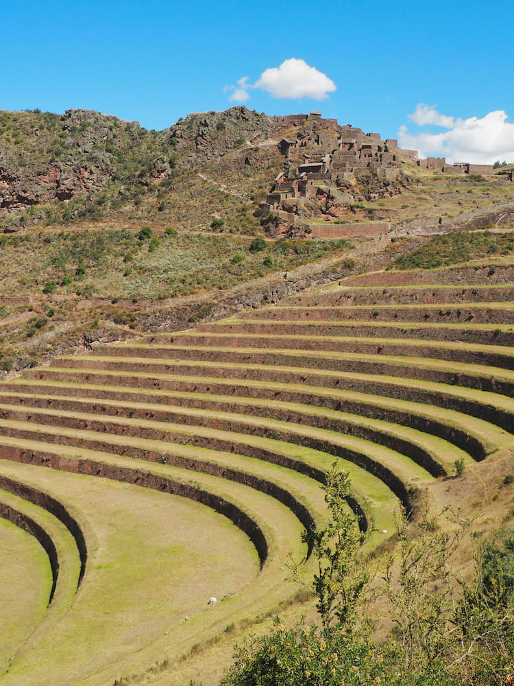 Qalla Q'asa with stepped terraces in the foreground