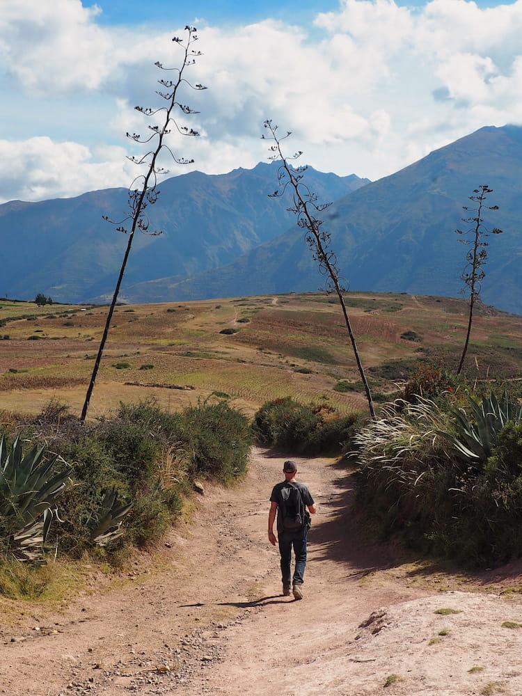 Ian walking the trail to the Salineras de Maras