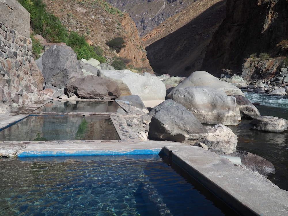 Hot springs beside the river at Llahuar