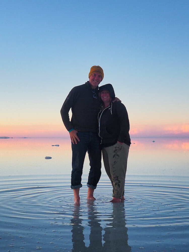 Ian and Nicky at a flooded Salar de Uyuni