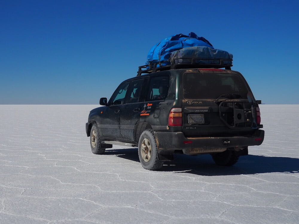Our jeep at the Salar de Uyuni