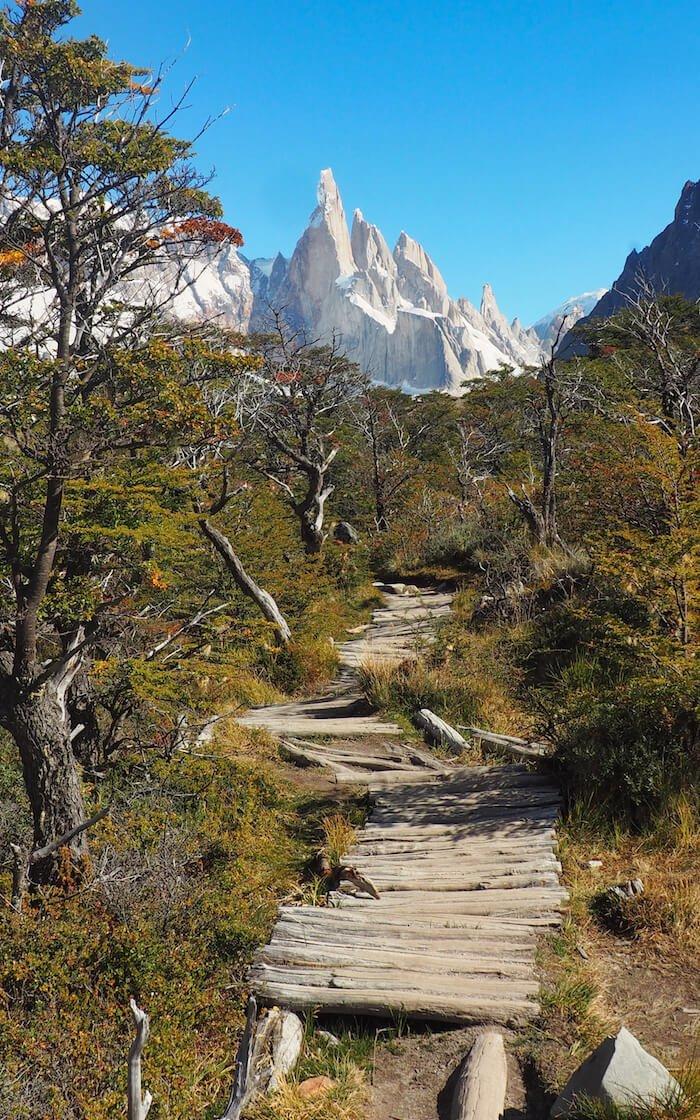 A boardwalk along the Cerro Torre hike