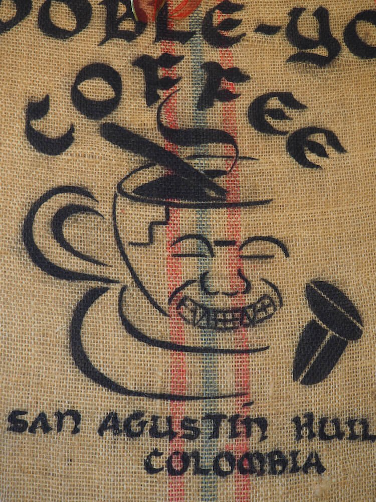 A coffee bag used as decoration
