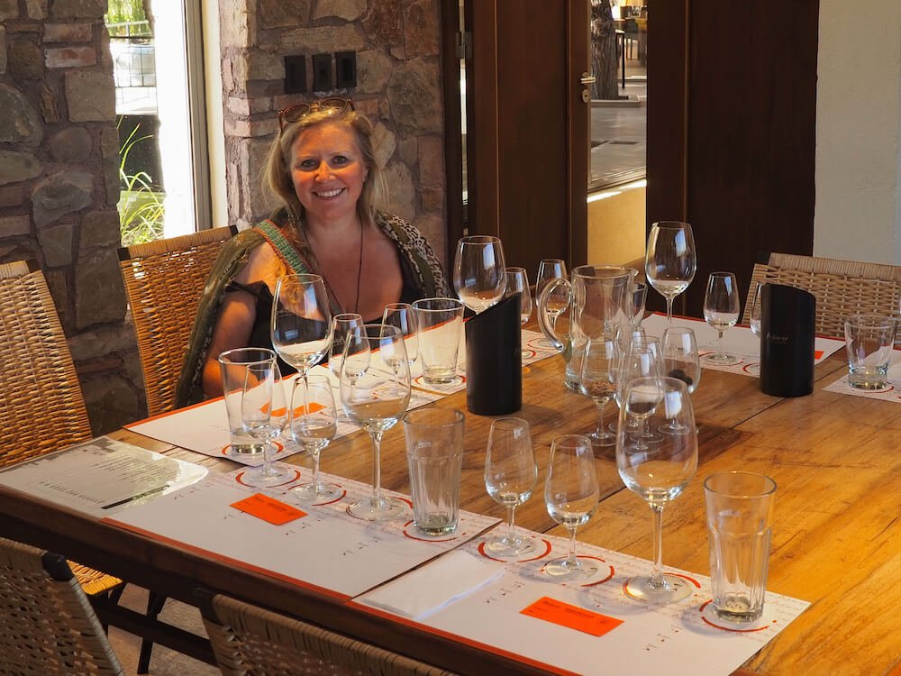 Nicky in the Renacer tasting room