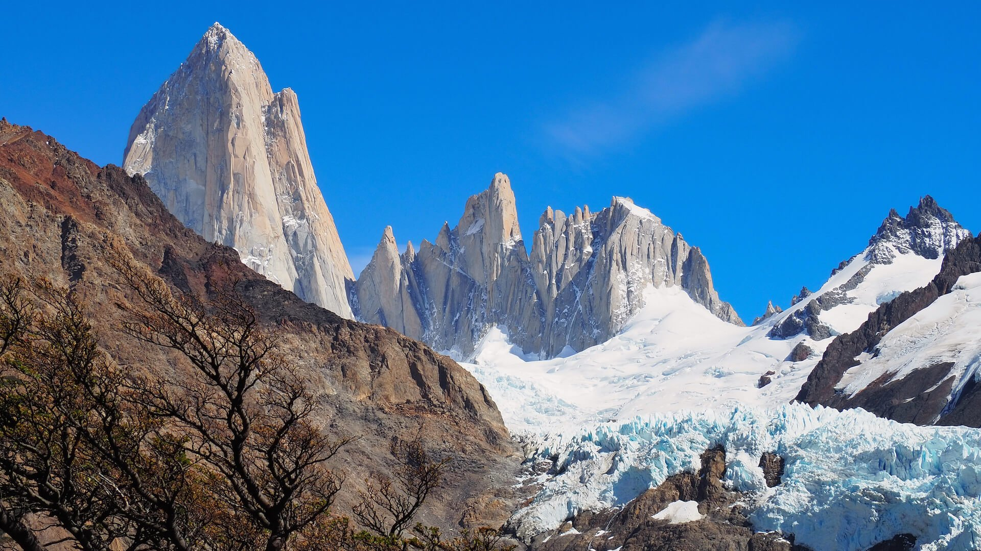 A closer view of the Piedras Blancas Glacier