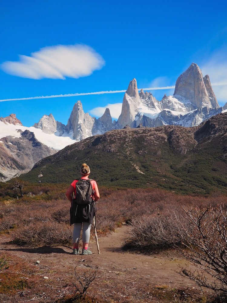 Nicky looks on to Mount Fitz Roy