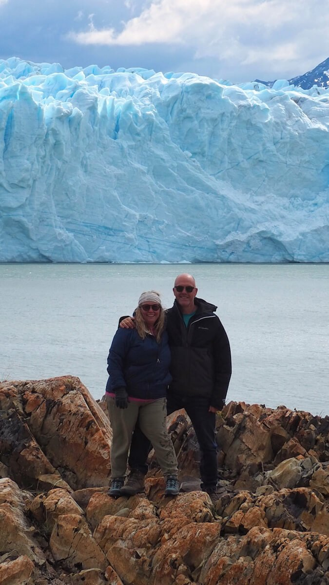 Ian and Nicky in front of the glacier