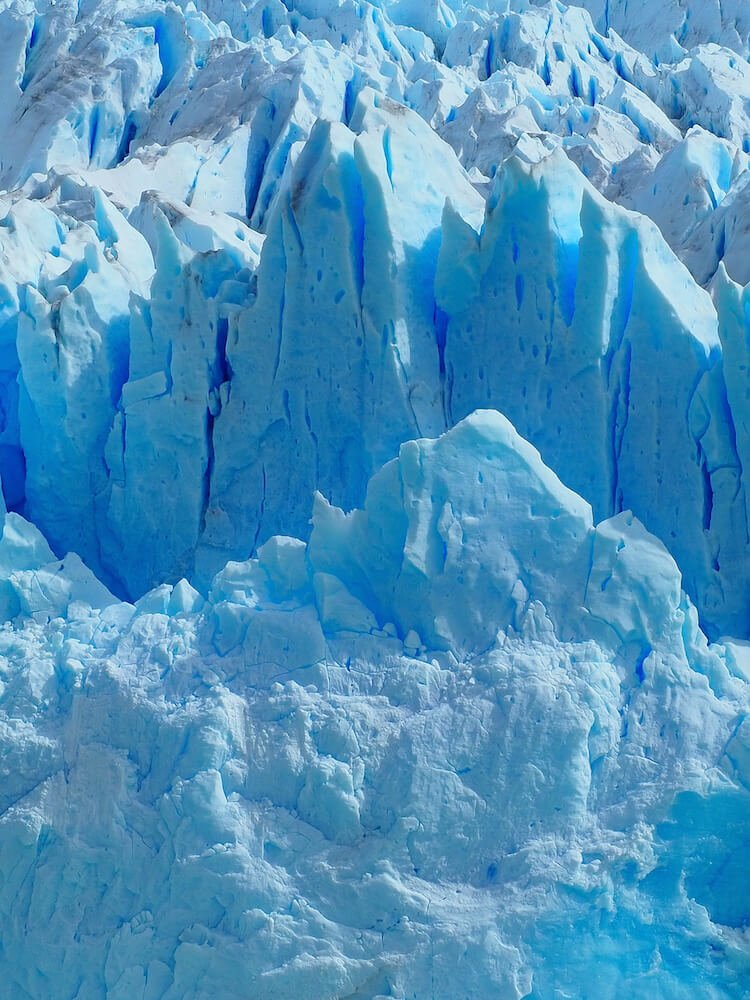 Close up of the blue ice at the head of the glacier