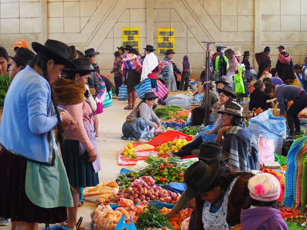 Indoor market in Tarabuco