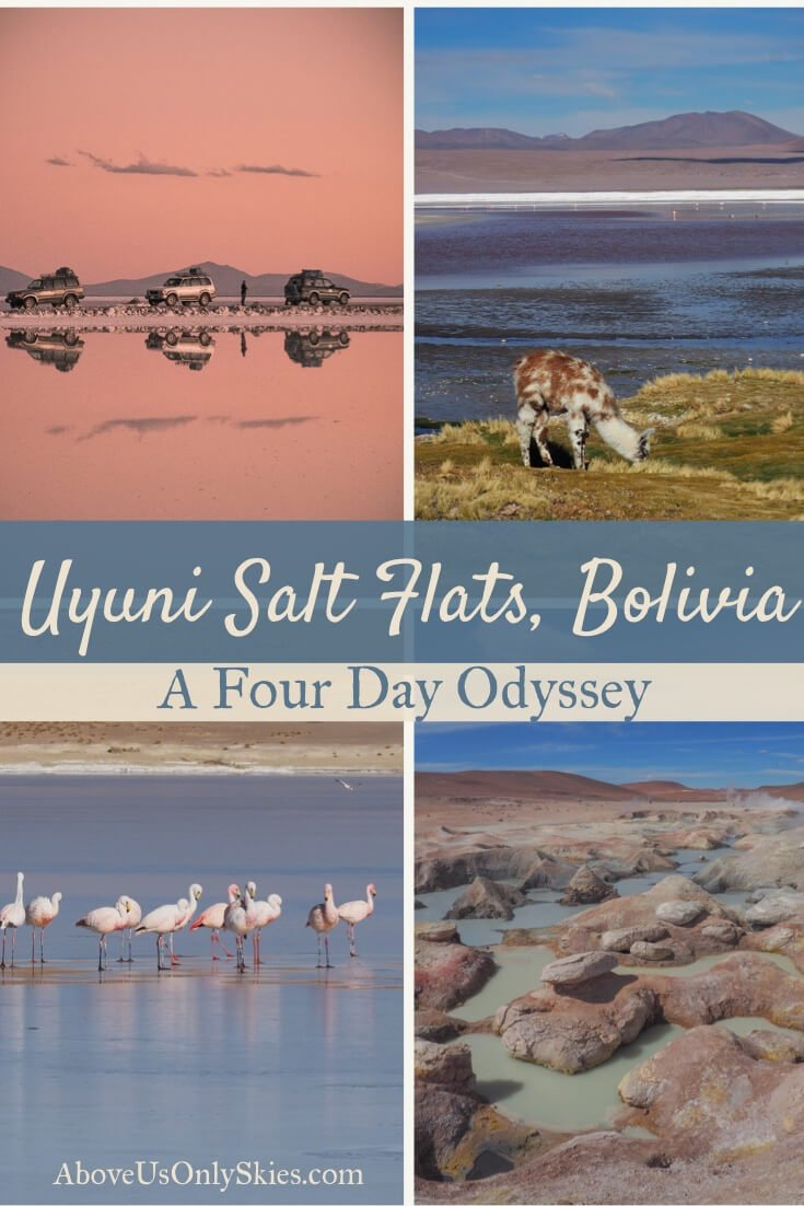 The amazing Uyuni Salt Flats in Bolivia should be high on anyone's South America bucketlist - including getting there on a four-day jeep tour from Tupiza #southamericabackpacker #budgettour #jeeptour #saltflatstour #boliviatravel #saltflatsphotography #salardeuyuni #boliviasaltflats #southwestcircuit