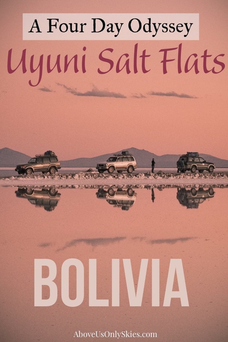 The amazing Uyuni Salt Flats in Bolivia should be high on anyone's South America wishlist - including the journey there on a four-day jeep tour from Tupiza #bolivia #saltflats #uyuni #flamingo #southamerica #southamericatravel #southamericatravelphotos #backpacking #backpackingtips #roadtrip #desert #desierto #dali #travelinspiration