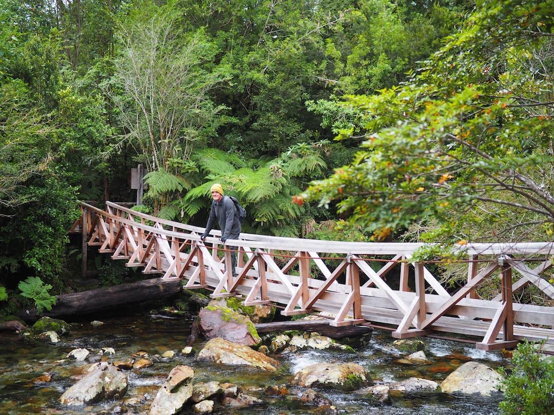Cascadas Escondidas - Ian standing on bridge