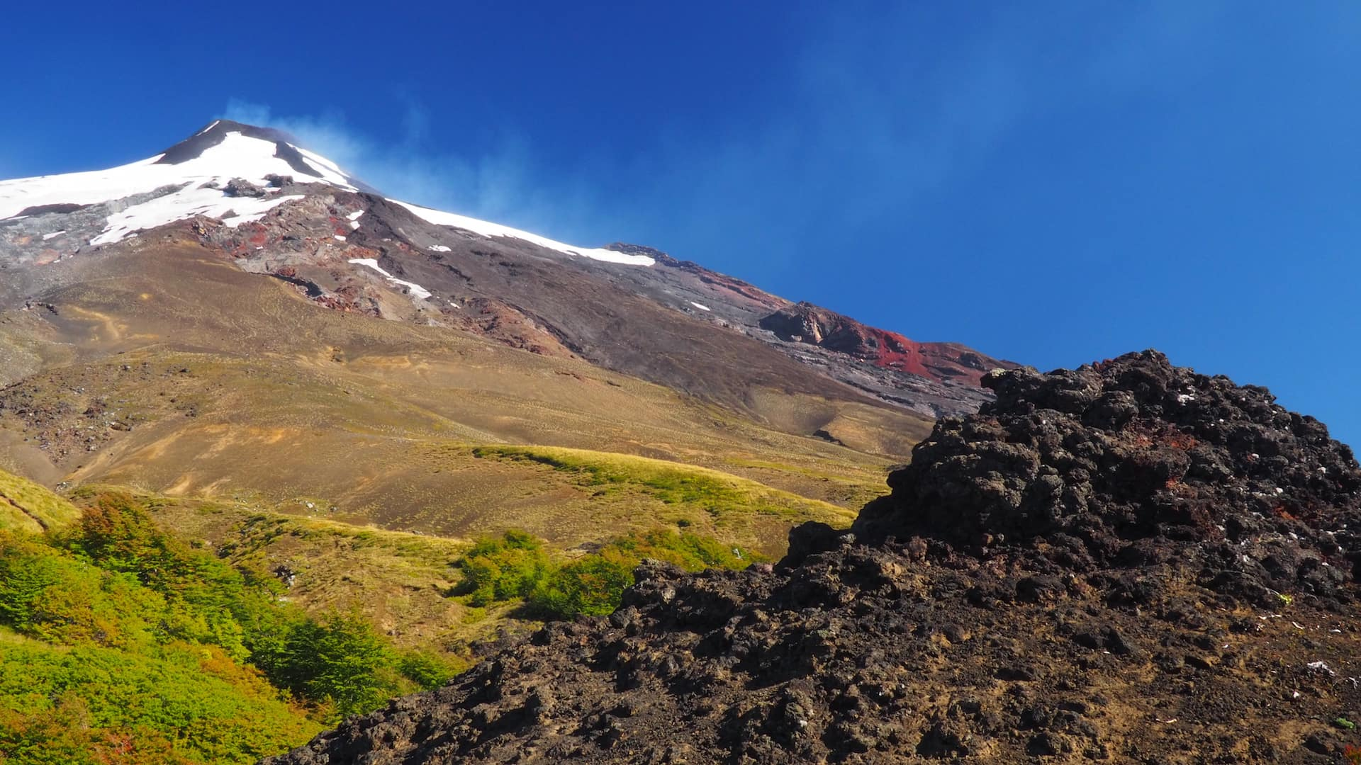 View of Volcan Villarica from the lava field