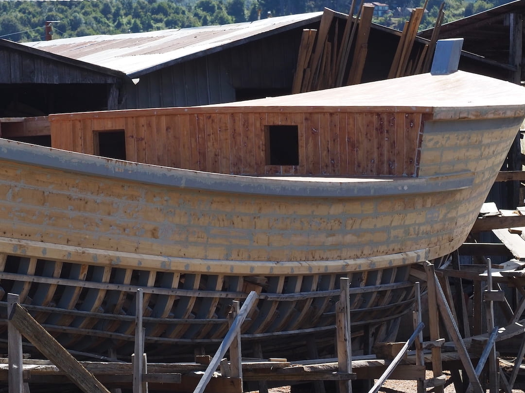 A boat under construction on Chiloe Island