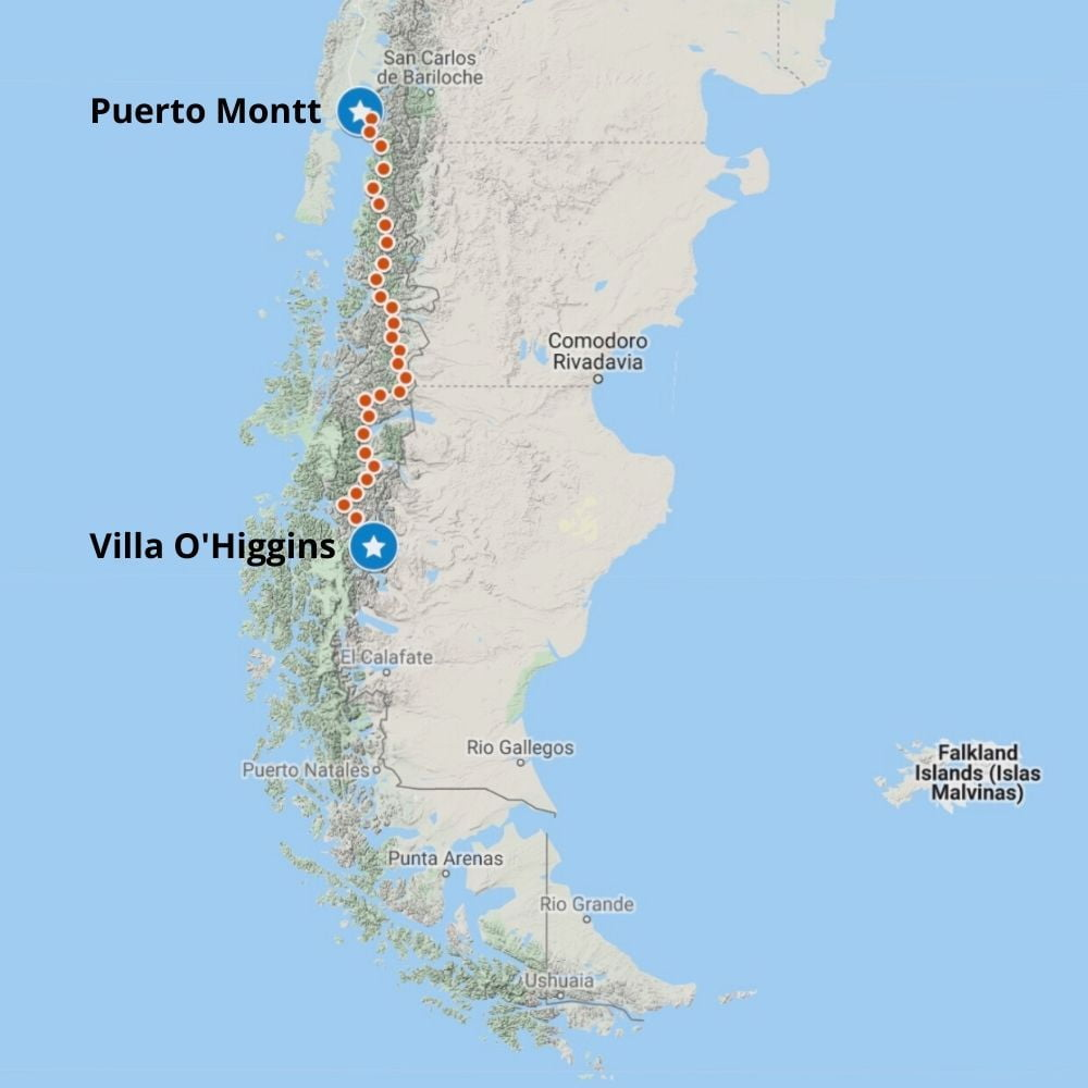 The route of the Carretera Austral