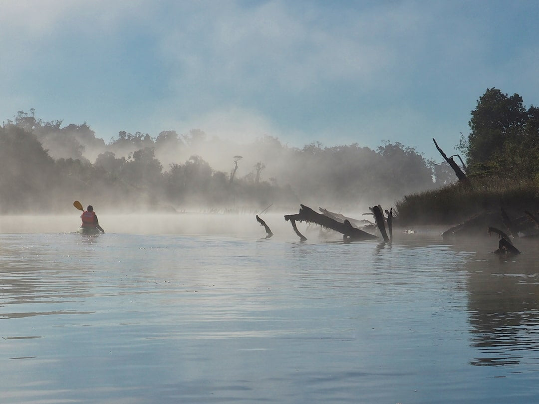 Kayaking through mist on the Chepu River