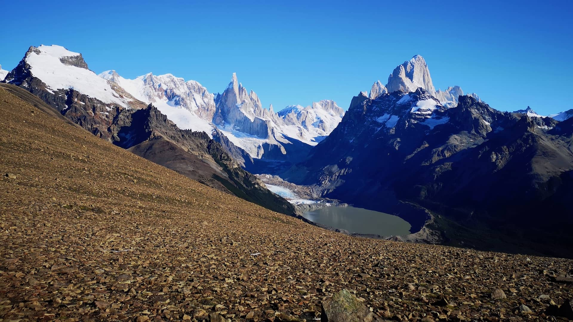 Panoramic view of both Cerro Torre and Mount Fitz Roy
