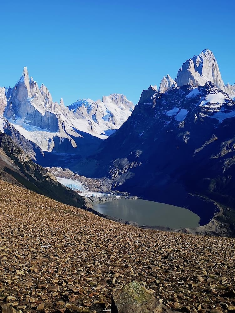 View of both Cerro Torre and Mount Fitz Roy