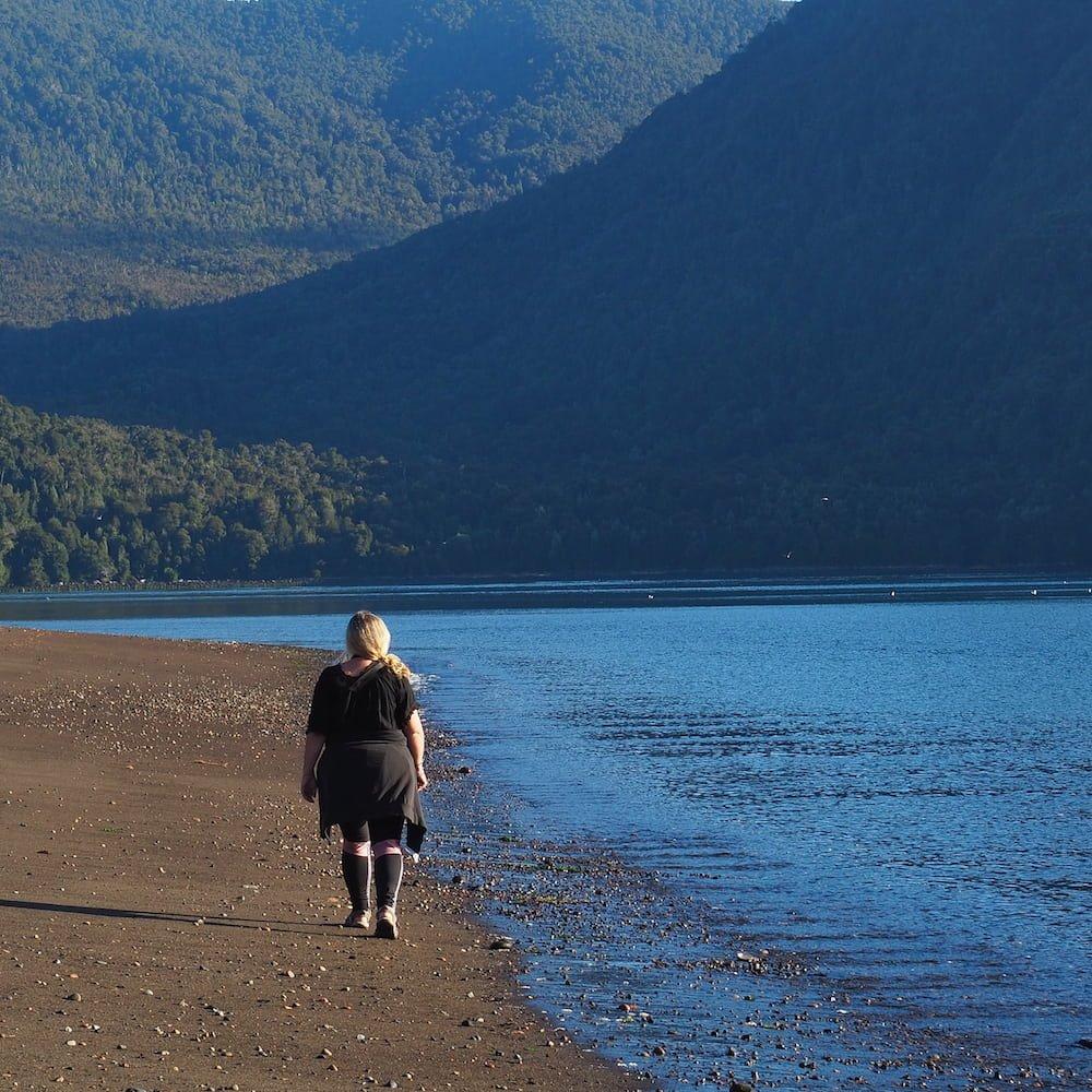 Nicky walking on the beach