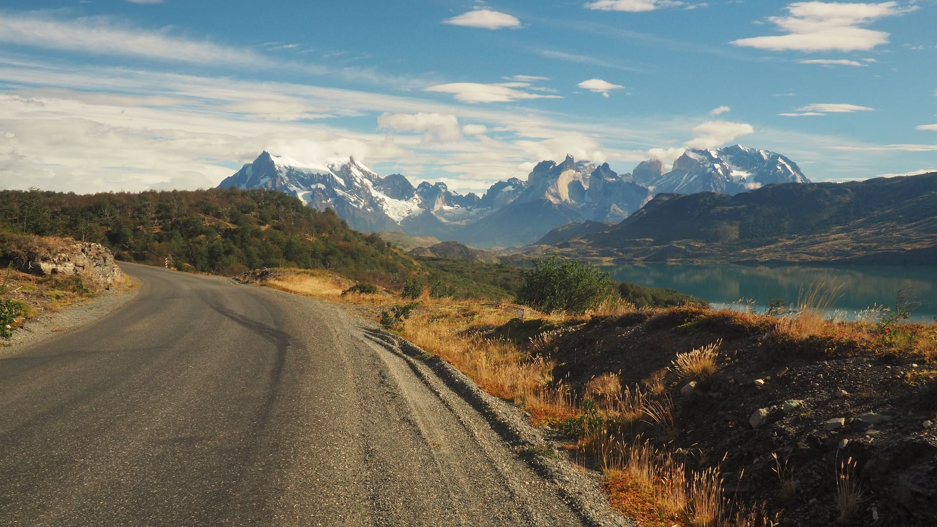 View of the Cordillera Paine from the Y-290 road
