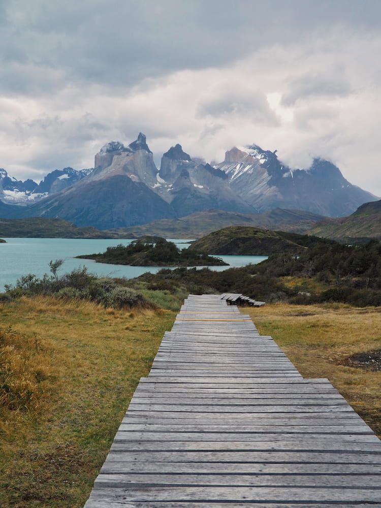 Boardwalk beside Lago Pehoé, Torres del Paine National Park, Chile