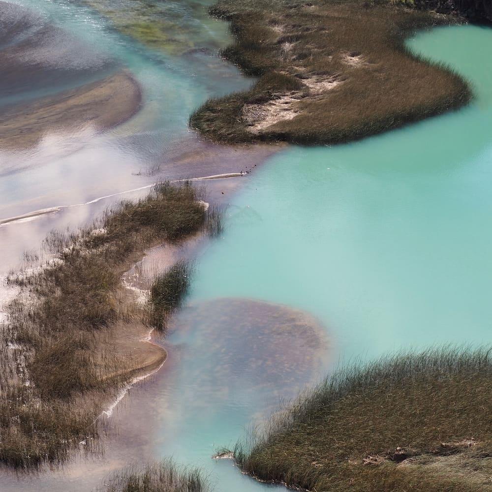 Mineral-rich lake on the outskirts of Villa Cerro Castillo