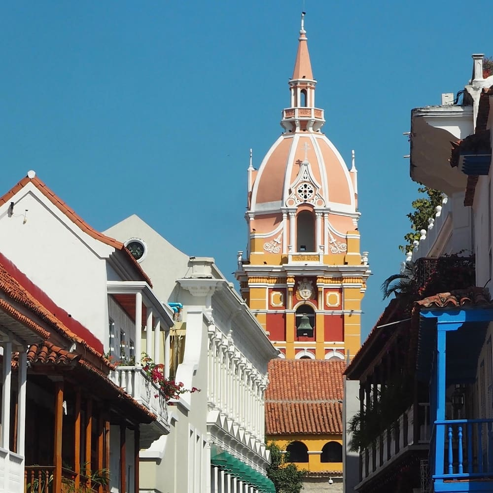 Colourful buildings and a church in Cartagena