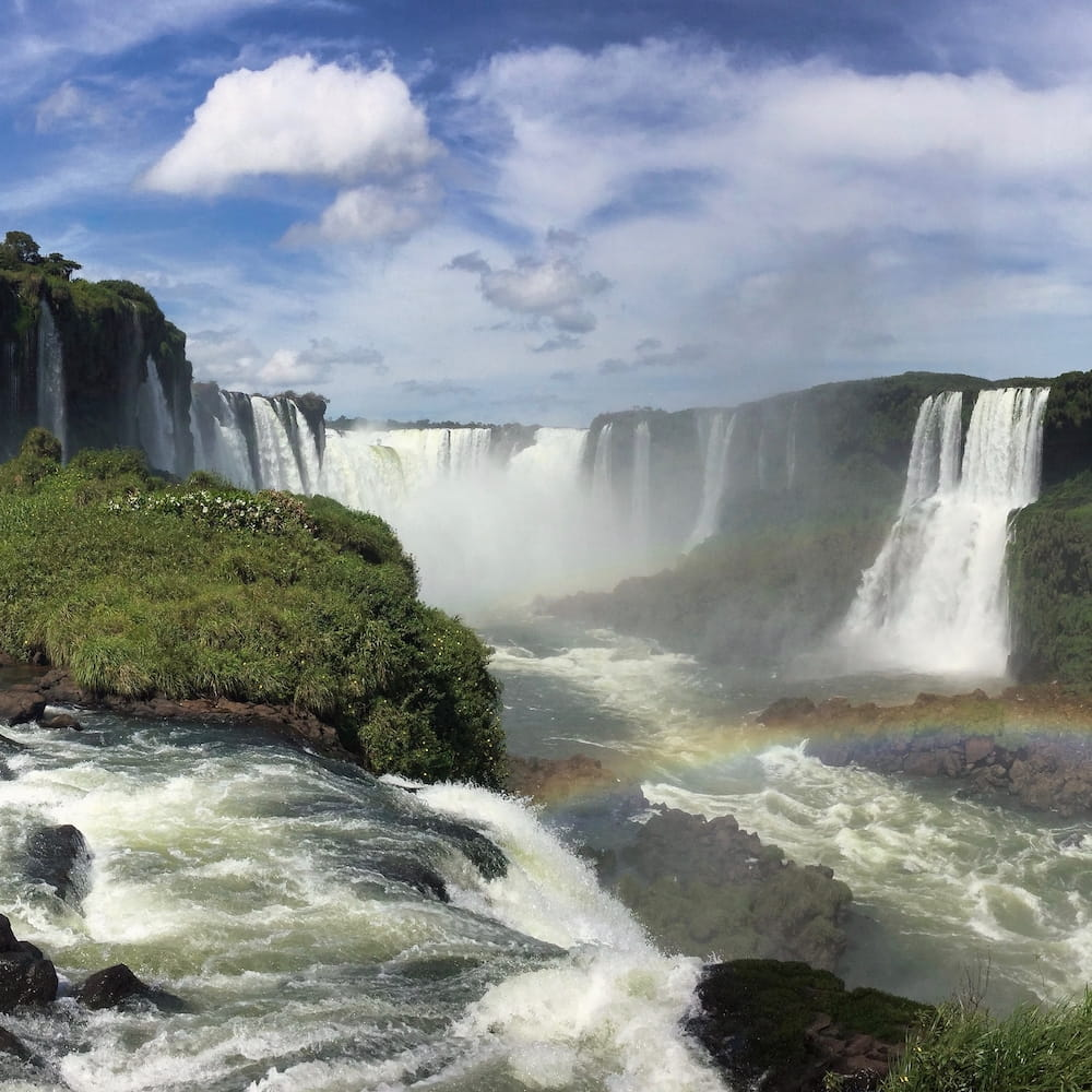 Large waterfall and a rainbow