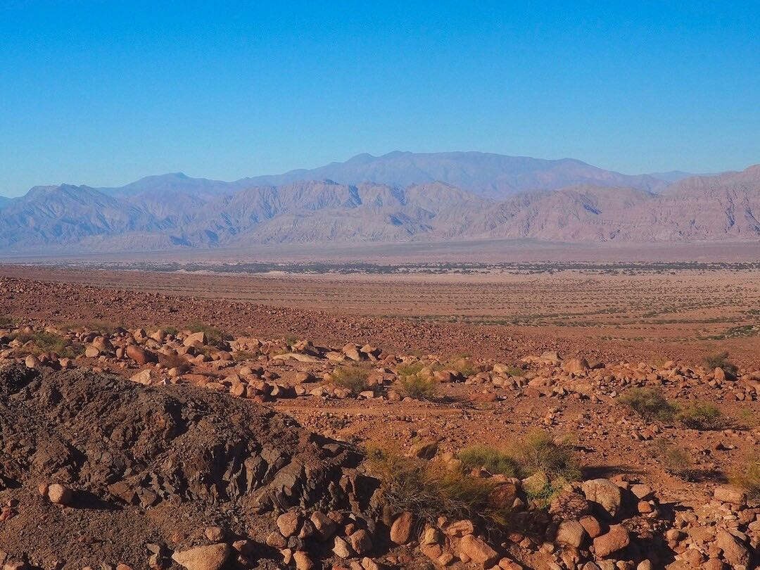 A large desert landscape with pink mountains in the background