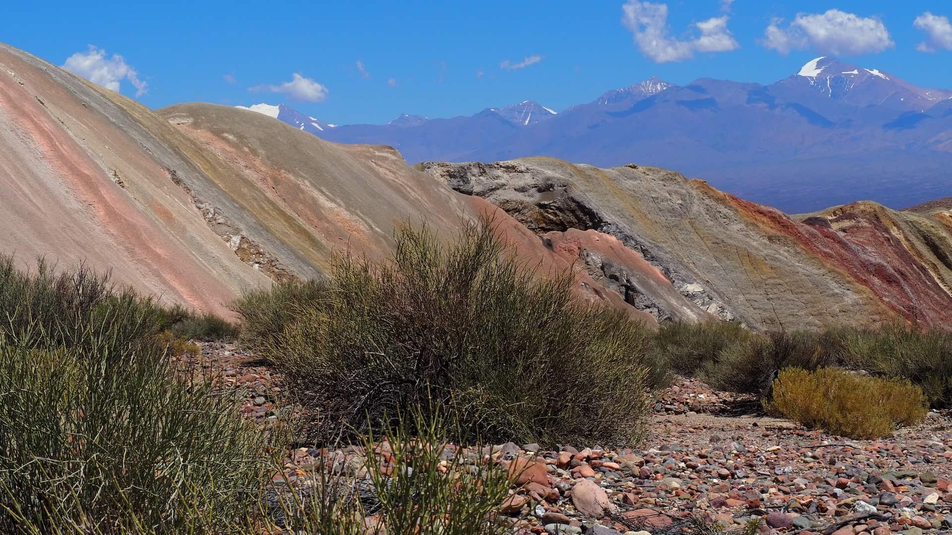 Multi-coloured hillsides in the foreground and snow-capped mountains in the background