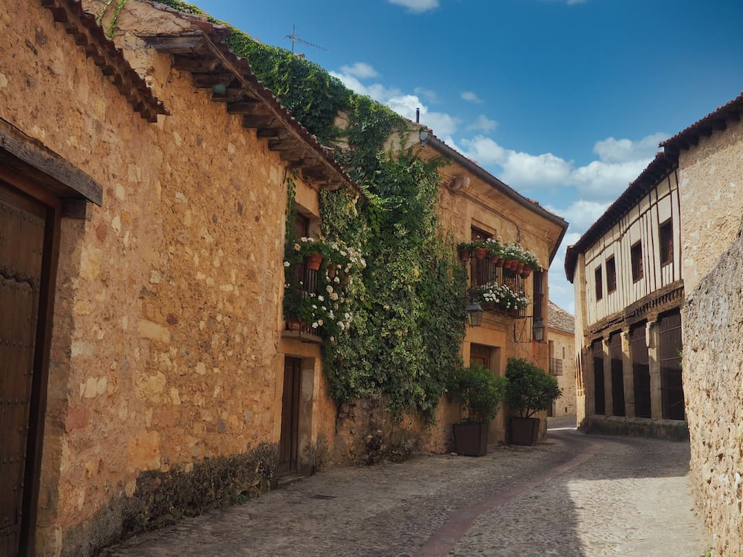 A medieval street with stone buildings covered in green foliage