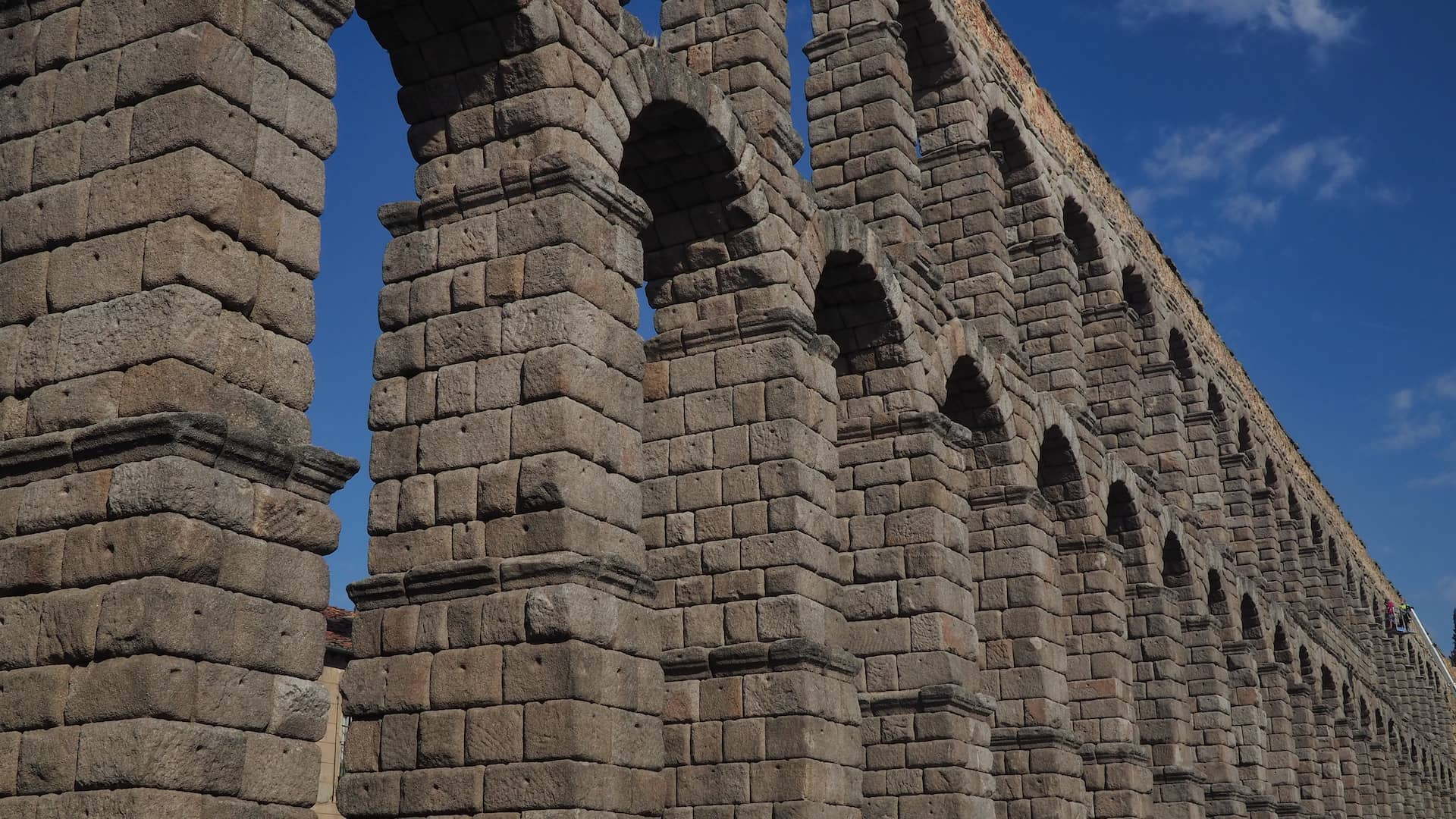 A two-storied stone aquaduct with multiple arches